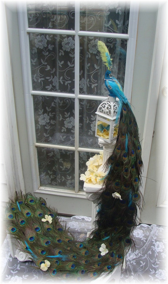 Winning FOUR WEDDINGS 48 inch Exquisite Peacock cake topper in your choice of colors