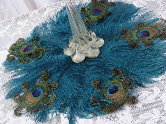 """Exquisite 16"""" Ostrich and Peacock Feather mat in your choice of colors"""