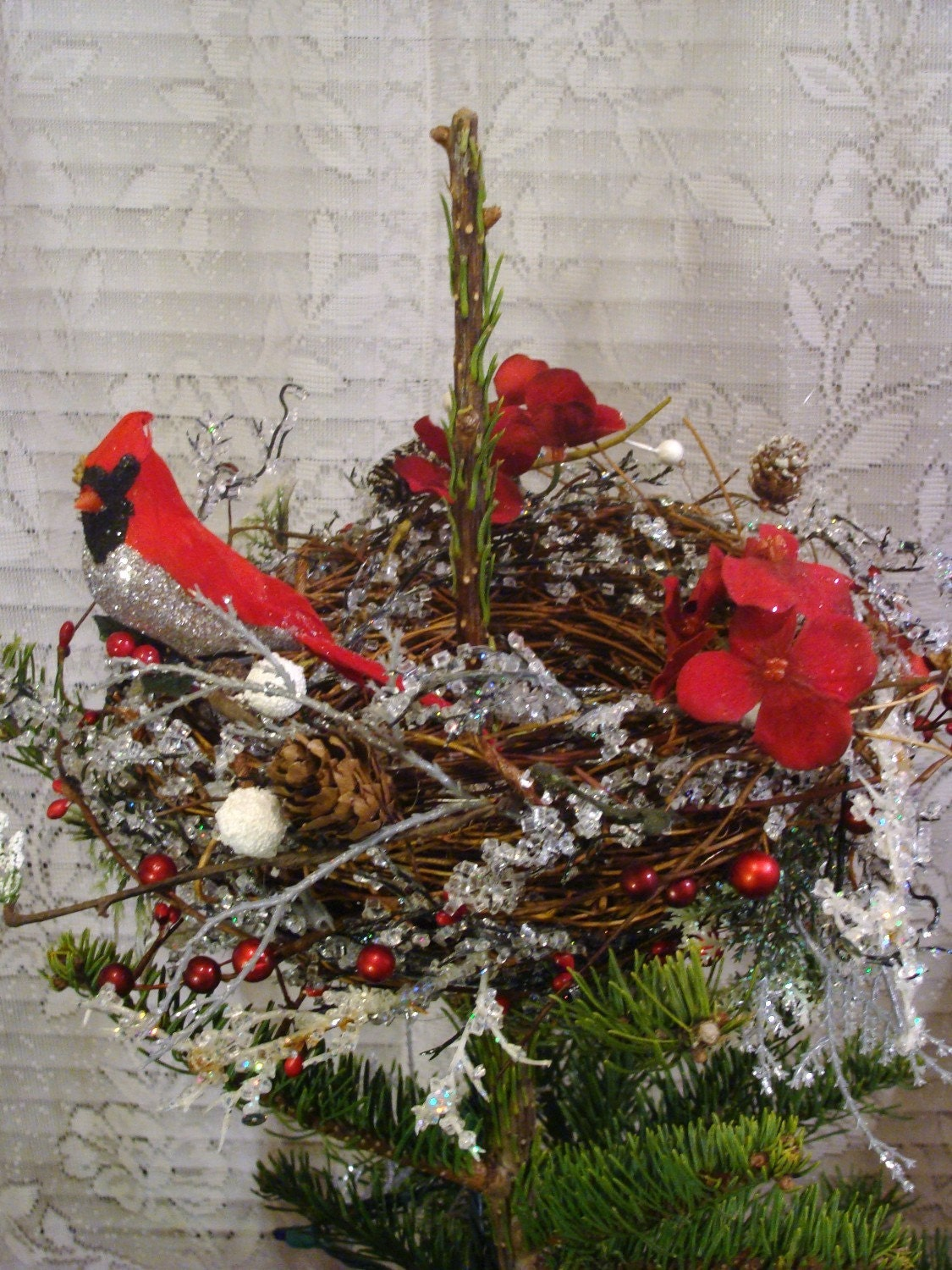 Cardinal S Rest Christmas Tree Topper By Ivyndell On Etsy