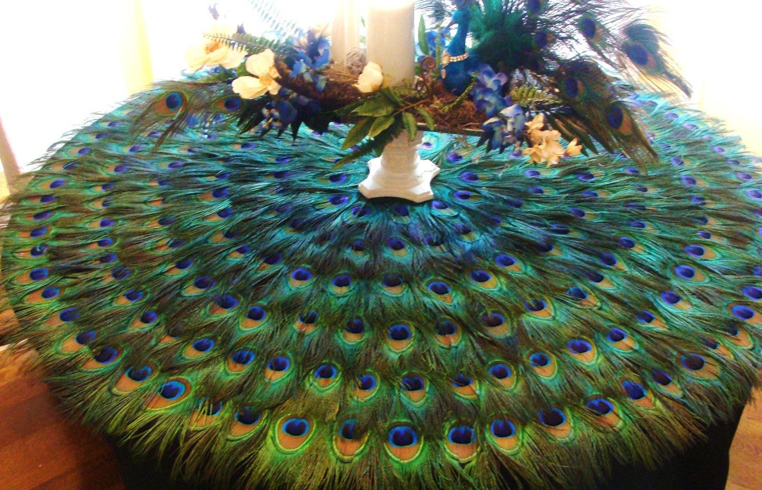 Items similar to extravagant 48 peacock feather mat on etsy for Home decorations peacock