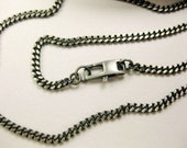 """16"""" Oxidized Sterling Silver Curb Chain Necklace"""