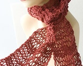 Hand Knit Scarf,  Lace Scarf, Cotton Scarf, Soft Red Autumn Scarf, Ready to Ship