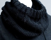 Men's Winter Cowl, Unisex Cowl Scarf, Black Cowl, Hand Knit Neck Warmer, Man's Scarf