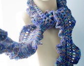 Ruffled Wool Scarf, Hand Crocheted,  Multi Color, Lace  Fashion Bordered with Ruffles, Blue. Purple, Aqua