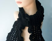 Black  Ruffled  Scarf,  Hand Crocheted  Scarf, Women's Winter Scarf,  Vegan, Ruffle Scarf
