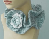 Cowl Scarf - Flower Ruffle Neck Warmer, Ice Blue Knit Buttoned Neckwarmer
