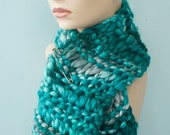 Chunky Knit Teal Scarf,  Winter Accessories  in Thick Warm Yarn in Shades of Aqua, Scarf Pin Inclluded