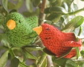Stocking Stuffer,  Red Green Bird Toys,  Holiday Decor,  Rustic Decor, Amigurumi