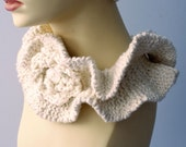 Knit Ruffled Neck Warmer, Flower Collar, White Organic Cotton Cowl,  Vegan, Eco Fashion