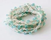 Summer Beach  Jewelry, Beaded  Wrap Necklace,  Stackable  Bracelet, Anklet, Ocean Blue Boho Jewelry, Crochet Jewelry