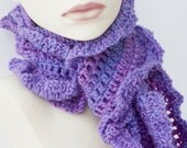 Purple Scarf, Wool Ruffled Scarf, Crocheted Women's Ruffle Scarf, Shades of Purple