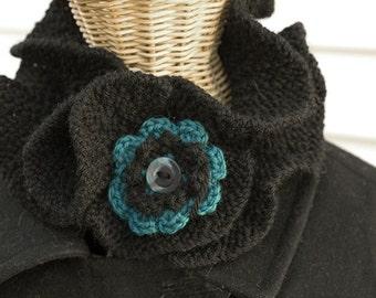 Ruffle Neck Warmer, Hand Knit Scarf, Black Neckwarmer, Button Scarf, Vegan Cowl Scarf, Women's Flower Scarf, Flower Collar
