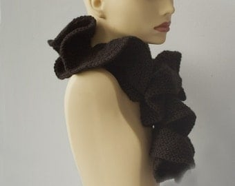 Black Ruffled Scarf, Hand Knit Ruffle Scarf, Vegan, Ready to Ship