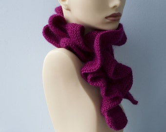 Raspberry Ruffle Scarf, Hand Knit Scarf,  Winter Accesories, Woman's Scarf, Vegan Scarf