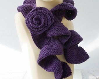 Ruffled Knit Scarf with Rose Scarf Pin, Dark Purple Fashion Scarf, Ruffle Scarf, Vegan Scarf