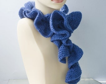 Blue Ruffle Scarf, Hand Knit Scarf, Ruffled Scarf, Long Scarf, Winter Scarf, Fashion Scarf, Women's Scarf