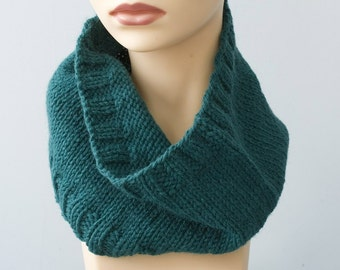 Teal Cowl, Aqua Hand Knit Cowl Scarf, Wool Winter Scarf