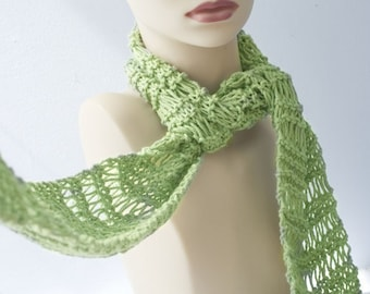 Knit Cotton Scarf, Green Scarf, Lace Scarf,  Fashion Scarf, Ready to Ship, Spring Scarf