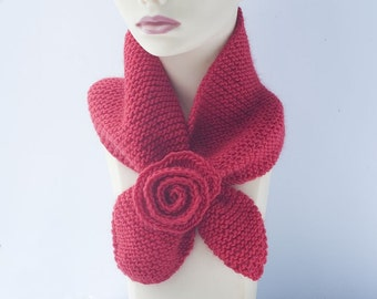 Hand  Knit Keyhole Scarf  Red Wool, Flower,  Self Tying Neck Warmer, Stay in Place
