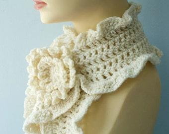 White Crocheted Scarf,  Ruffled Scarf, Flower Scarf Pin, Warm Winter Scarf.  Crochet Scarf