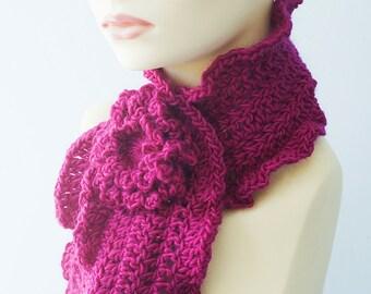Ruffled Scarf Raspberry with  Flower Scarf Pin, Hand Crocheted Women's Scarf, Vegan Scarf