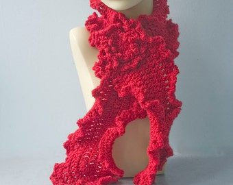 Red Crocheted Scarf with Flower Scarf Pin,  Ruffle Scarf, Women's Scarf