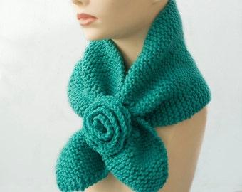 Aqua Keyhole Scarf, Knit  Vegan Self Tylng Scarf, Flower Neck Warmer, Stay in Place