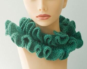 Crocheted Cowl, Aqua Ruffled Collar,  Ruffle  Neck Warmer  Bamboo , Ready to Ship