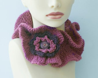 Sale, Buttoned Ruffle Neck Warmer,  Raspberry Scarf,  Ruffled Flower Cowl, Hand Knit Collar, Ready to Ship