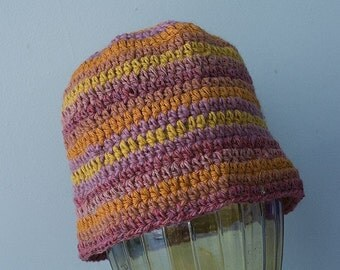 Winter Hat Hand Crocheted, Multicolor StripeCap  in Sunset Colors, Winter Accessories