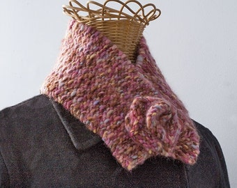 Hand Knit Scarf with Flower, Winter Accessories,  Multicolor Button Neck Warmer, Thick and Warm