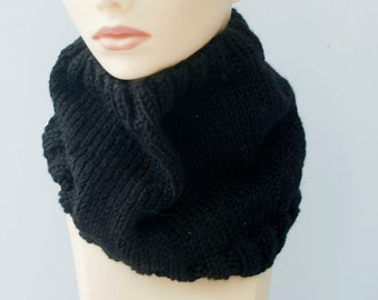 Men's Winter Cowl, Hand Knit Cowl Scarf, Mens Gift, Custom Wool Neck Warmer, Chose Color, Man's Scarf, Women's Cowl, Wool