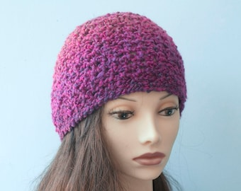 Crocheted Cloche Hat, Purple and Raspberry Hat, Very Soft, Warm Slouchy Beanie, Ready to Ship