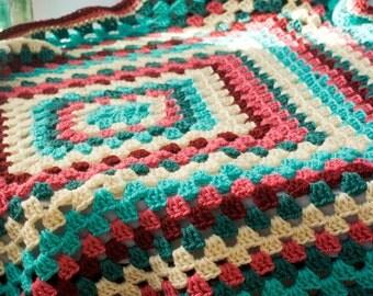 Crochet Baby Blanket, Granny Square Afghan,  Shower Gift, Pink, Turquoise, Rose