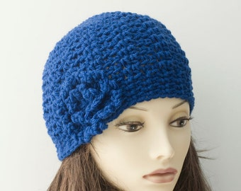Woman's Blue Wool Flower Cloche, Hand Crocheted Hat, Ready to Ship