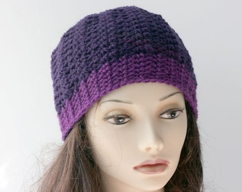 Hand Crocheted Hat,  Slouchy Beanie, Purple Raspberry, Beret, Cloche, Winter Accessories, Ready to Ship