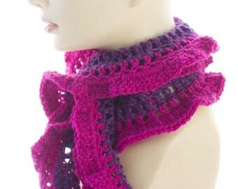 Raspberry Ruffled Scarf,  Magenta Scarf, Ruffle Scarf, Purple Crocheted  Scarf