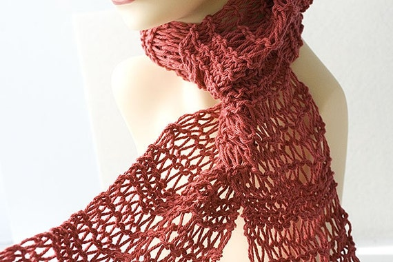 Hand Knit Scarf, Spring Scarf,  Lace Scarf, Cotton Scarf, Soft Red Scarf, Ready to Ship
