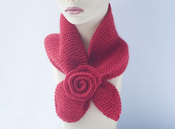 Hand Knit Keyhole Scarf Red Wool Flower Self Tying Neck