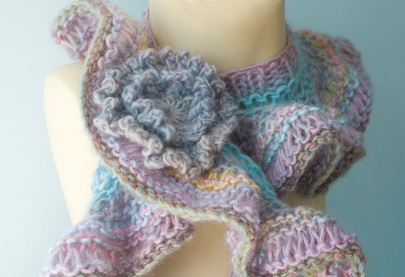 Knit Ruffled Scarf  with Flower Scarf Pin,   Pastel Fashion Scarf,