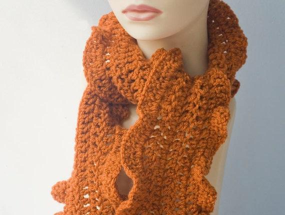 Orange Ruffle Scarf, Crocheted Scarf,  Vegan,  All Season