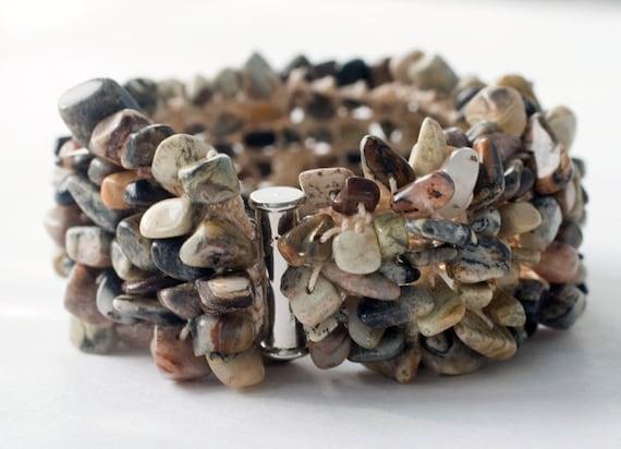 Earth Tones Stone Chip Cuff Bracelet,  Hand  Knit Bracelet,  Brown Beadwork