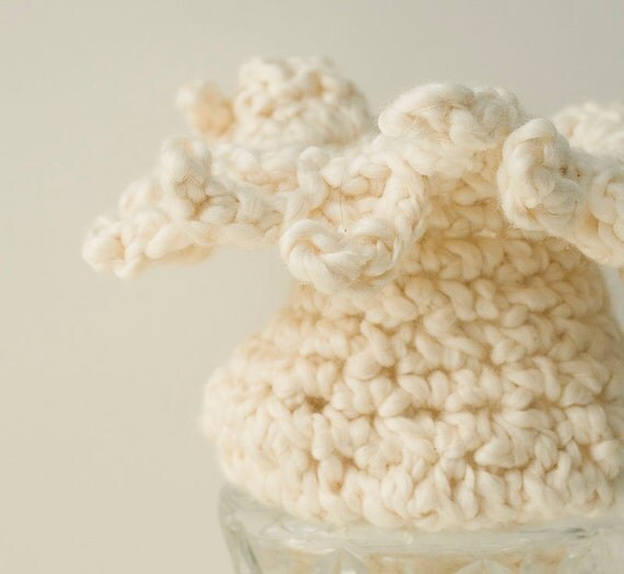 Sea Anemone  Crochet Bowl, Eco Friendly Organic Cotton Soft Sculpture, Cream White, Hand Crocheted Bowl, Nautical Decor