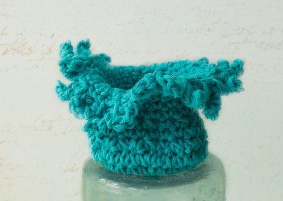 Sea Anemone  Crochet Vessel, Eco Friendly Cotton Soft Sculpture, Turquoise Crocheted Bowl, Hand Crocheted Bowl, Nautical Decor