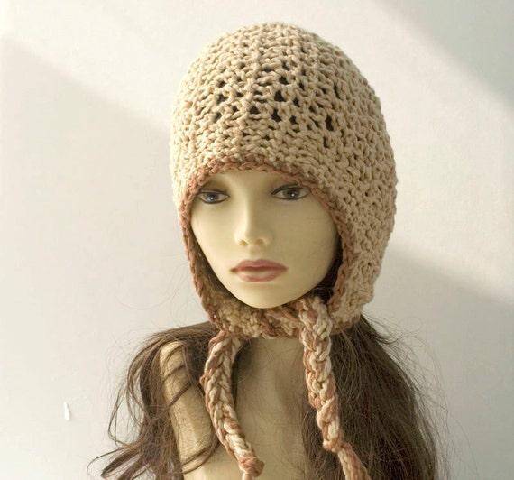 Crocheted Ear Flap Hat,  Cream Brown Organic Cotton Aviator Hat, Helmet Hat, Eco Fashion, Snow Hat