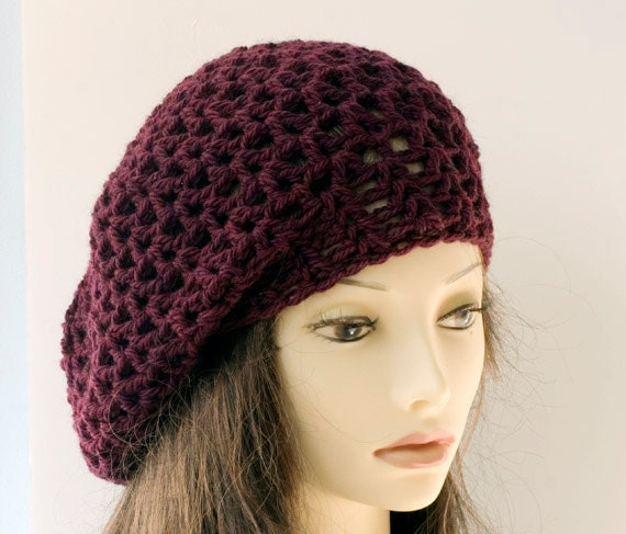Hand Crocheted Slouchy Hat , Winter Hat, Winter Accessories, Burgunday  Wool Cloche, Lace Fashion
