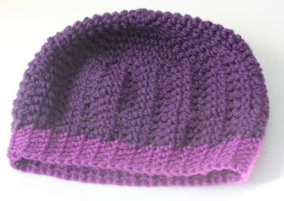 SALE, Hand Crocheted Hat,  Slouchy Beanie, Purple Raspberry, Beret, Cloche, Winter Accessories, Ready to Ship