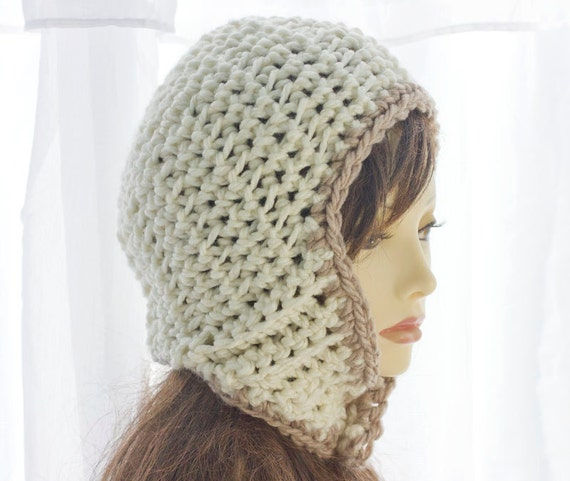 Crocheted Ear Flap Hat,  Cream and Brown Aviator Hat, Button, Chunky Helmet Hat,  Warm Winter Accessories Snow Hat, Ready to Ship