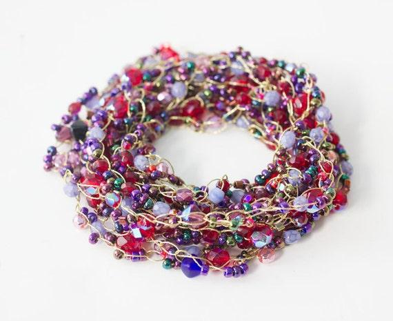 Summer Necklace, Beach Jewelry, Wrap Bracelet, Crochet  Stackable Bracelet, Purple, Red Beads
