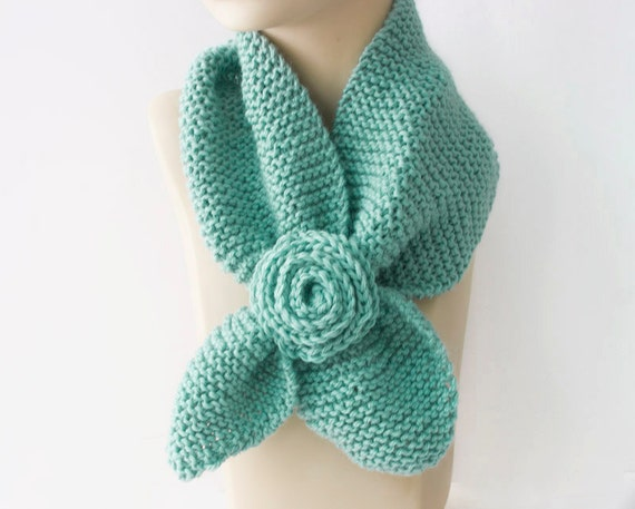 Knit Keyhole Scarf  Mint  , Bamboo  Self Tying, Stay in Place Scarf, Women's Neck Warmer with Flower